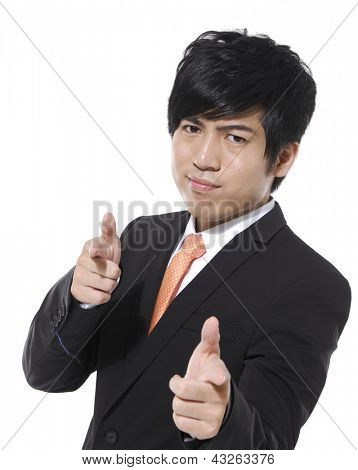 young business man touching an imaginary screen or button