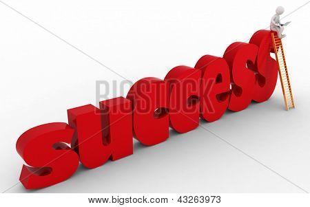 3d businessman on success stair. 3d render illustration