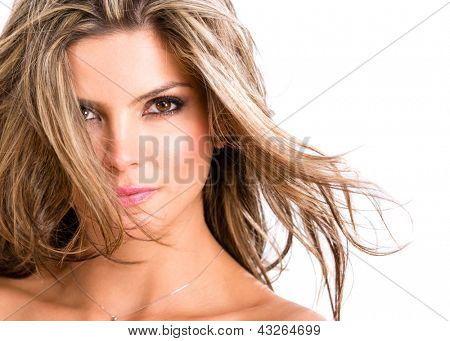 Woman portrait with beautiful blond hair - isolated over a white background
