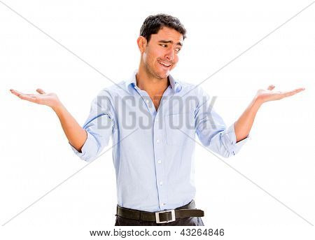 Hesitant business man with arms open - isolated over white
