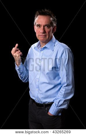 Angry Frowning Business Man Giving One Finger Gesture