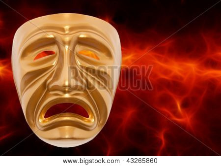 Tragedy theatrical mask on a red background