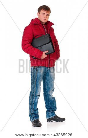 Full length portrait of a young man in winter clothing with briefcase isolated on white background