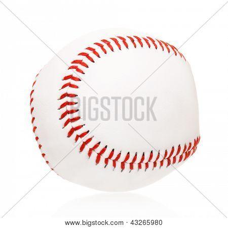Single baseball ball, isolated on white background