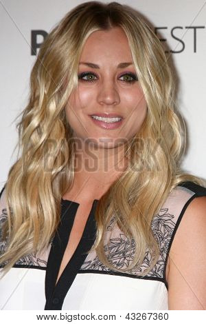 "LOS ANGELES - MAR 13:  Kaley Cuoco arrives at the  ""Big Bang Theory"" PaleyFEST Event at the Saban Theater on March 13, 2013 in Los Angeles, CA"