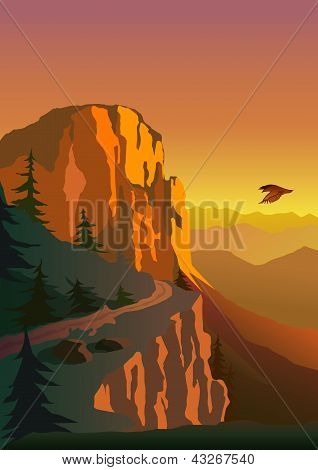 Mountain and sunset