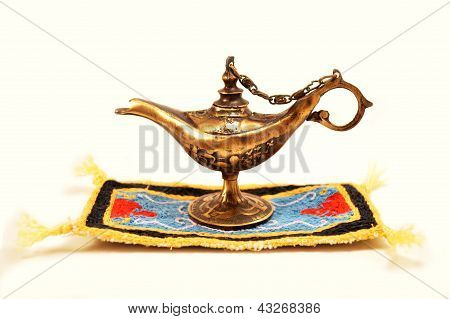 Aladdin magic lamp isolated on white background