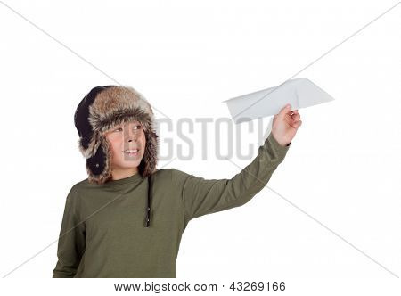 Airman Young playing with a paper airplane isolated on a white background