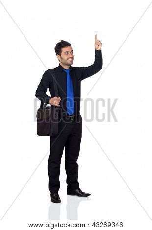 Young businessman indicating something with his finger isolated on white background