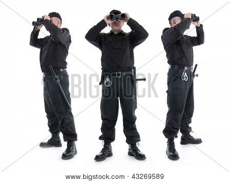 Three security guards wearing black uniform looking through binoculars, in three different directions, shot on white