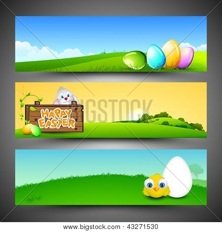 Website header or banner set with beautiful painted eggs, bunny, and little chick for Happy Easter.