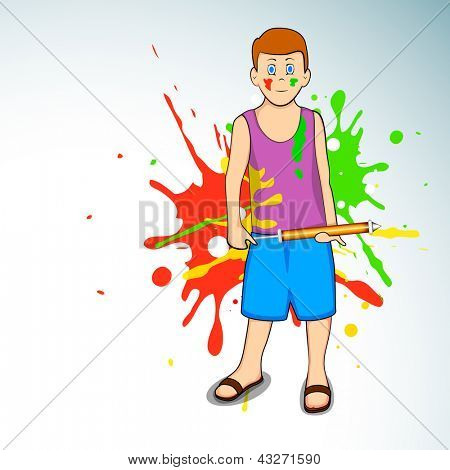 Indian colorful festival Holi celebration background with young boy holding color gun (pichkari)  EPS 10.