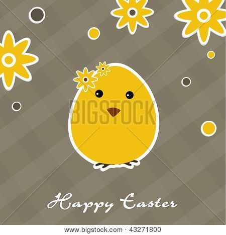 Vintage Happy Easter background with little chick.