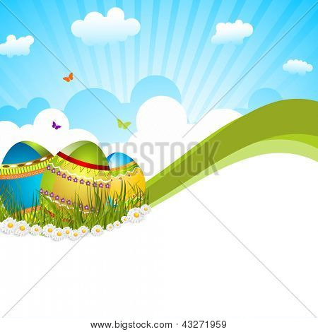 Happy Easter background or card with decorated eggs in grass on nature background.