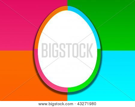 White egg on colorful abstract background for Happy Easter.