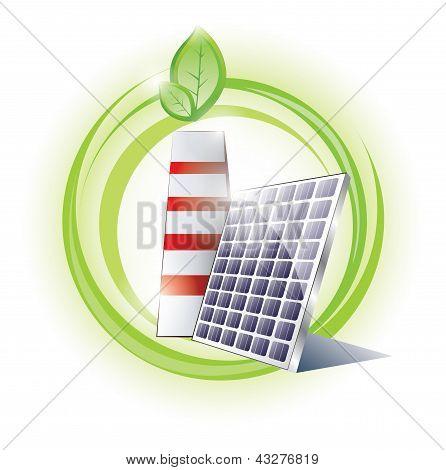 Chaminé de eco e painel solar