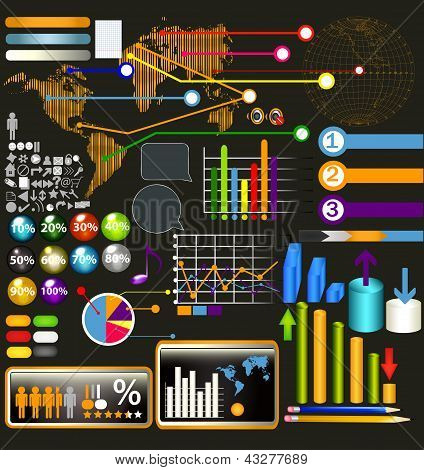 Collection Of Web And Infographic Elements, Diagrams, Symbols And Arrows