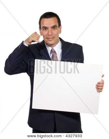 Business Man With White Cardboard