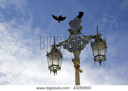 Old Street Lights On Brighton Seafront Promenade