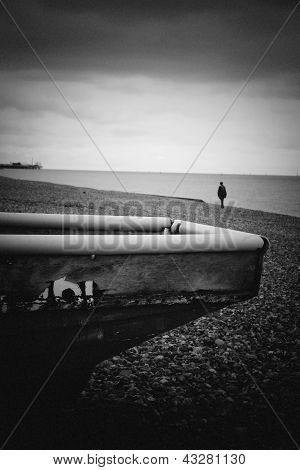 Pin Hole Image Of Brighton Beach With Boat