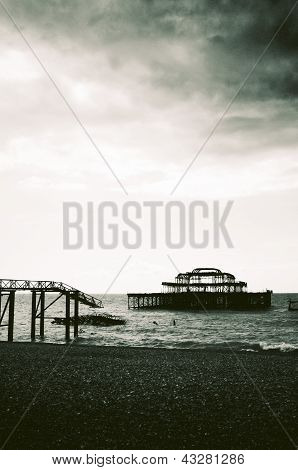 Remains Of The West Pier On Brighton Beach, England