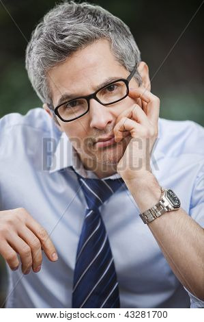 Portrait Of A Businessman Thinking
