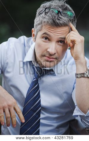 Portrait Of A Businessman Looking Worried