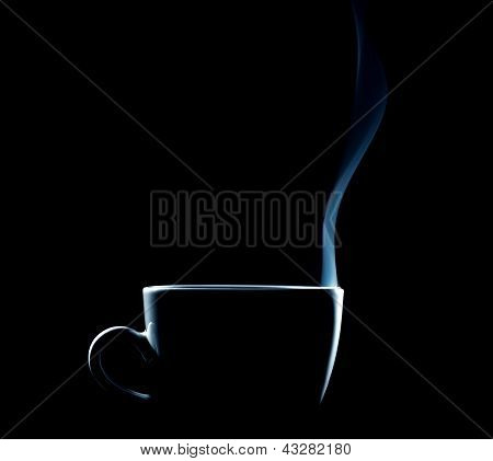 outline of a steaming coffee cup