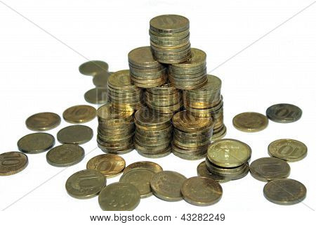 A stacks of gold coins