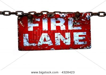 Fire Lane Sign On Chain