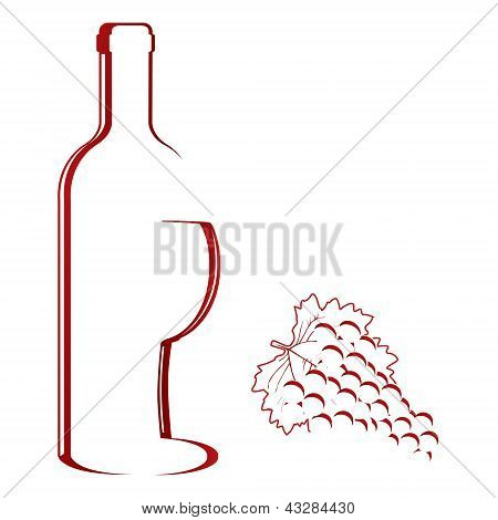Abstract wine bottle & glass design