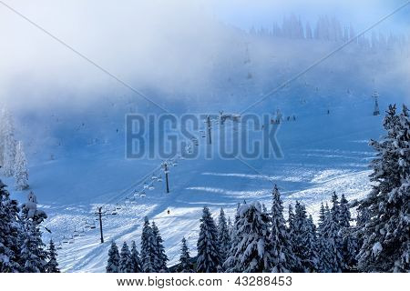 Ski School In The Fog Chairlifts At Snoqualme Pass Washington