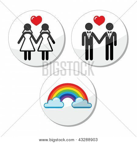 Gay, lesbian marriage, rainbow icons set
