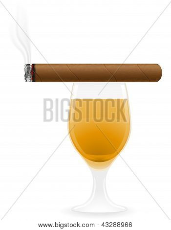 Cigarros y bebidas alcohólicas Vector Illustration