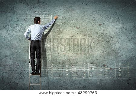 businessman drawing diagram