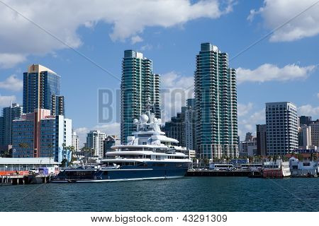SAN DIEGO, CALIFORNIA - FEB 11 : Roman Abramovich's yacht Luna rests at dock.
