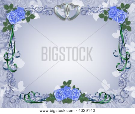 Wedding Invitation Border Blue Roses