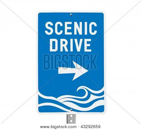 Coastal area scenic drive sign isolated on white.