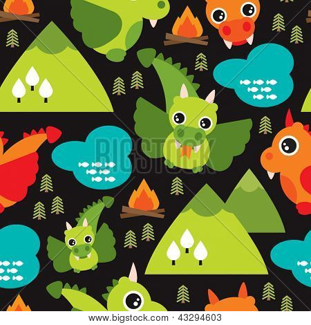 Seamless kids dragon fly mountain illustration background pattern in vector