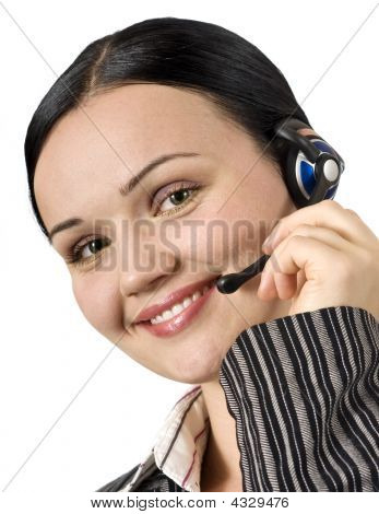 Portrait Of Beautiful Customer Support Woman Isolated On White