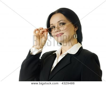 Portrait Of Young Business Woman, On The White Background