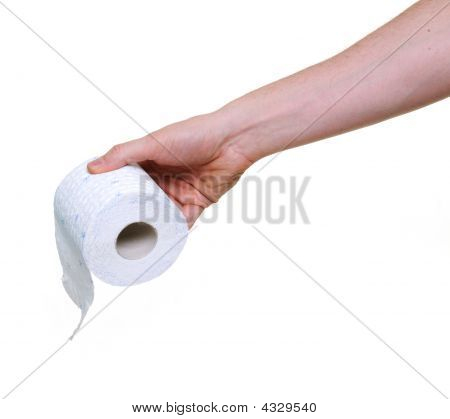Hand Holding Toilet Paper