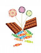 Chocolates, Lollipops And Hard Candy On White Background