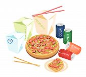 stock photo of take out pizza  - Take Away Restaurants An Illustration of Take Out Food Chinese Food Boxs Pizzas and Soda Drinks Isoleted on White Background  - JPG