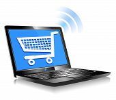 foto of ebusiness  - Concept icon computer shopping on the web - JPG