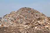 stock photo of dump  - Garbage at a rubbish dump in a landfill site pollution Global warming - JPG