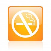 no smoking orange square glossy web icon