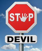 stock photo of sinner  - stop the devil or satan - JPG