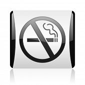 no smoking black and white square web glossy icon