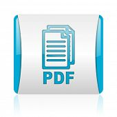 pdf blue and white square web glossy icon